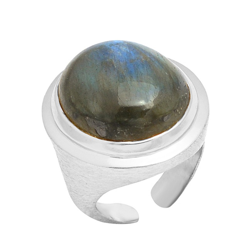 925 Sterling Silver Oval Cabochon Labradorite Gemstone Gold Plated Adjustable Ring