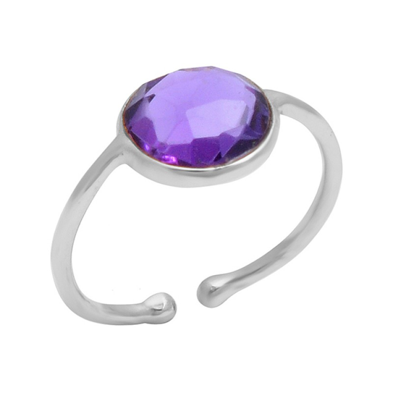 925 Sterling Silver Amethyst Round Shape Gemstone Gold Plated Handmade Ring