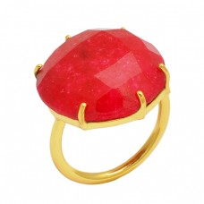 Round Shape Red Onyx Gemstone 925 Sterling Silver Gold Plated Prong Setting Ring