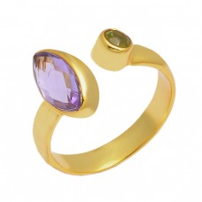 Amethyst Peridot Gemstone 925 Sterling Silver Gold Plated Designer Ring