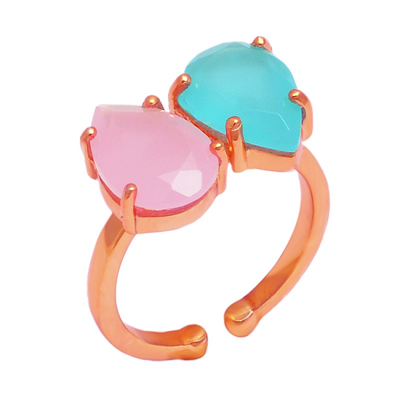Pear Shape Chalcedony Gemstone 925 Sterling Silver Gold Plated Prong Setting Ring