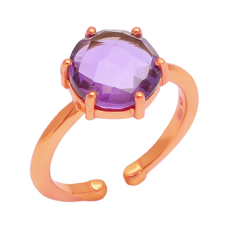 925 Sterling Silver Round Shape Amethyst Gemstone Gold Plated Ring Jewelry