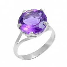 Faceted Round Shape Amethyst Gemstone 925 Sterling Silver Prong Setting Ring