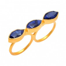 Marquise Shape Lapis Lazuli Gemstone 925 Silver Gold Plated Two Finger Designer Ring