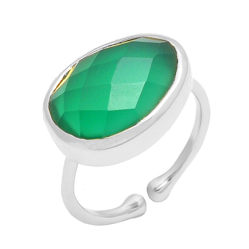 Green Onyx Oval Shape Gemstone 925 Sterling Silver Gold Plated Ring Jewelry