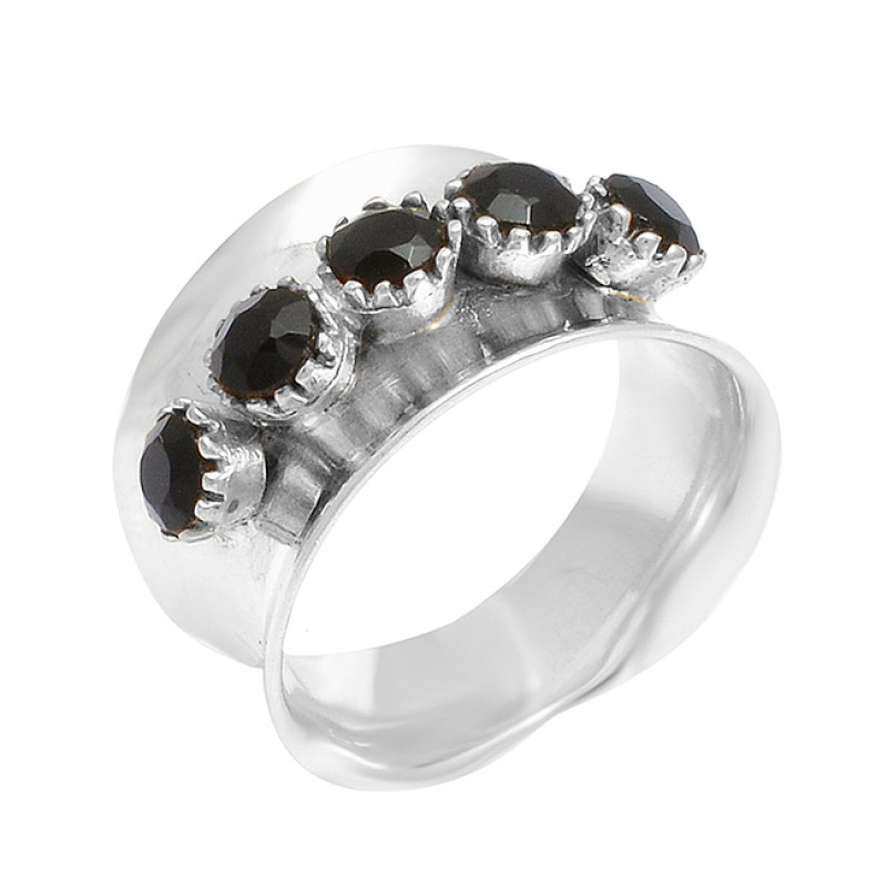Round Shape Black Onyx Gemstoe 925 Sterling Silver Gold Plated Ring Jewelry