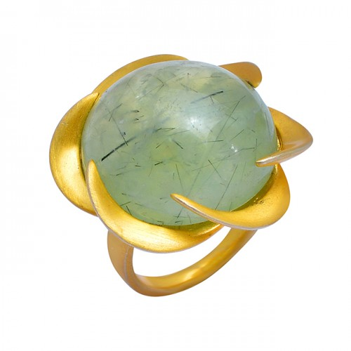 Round Cabochon Chalcedony Gemstone 925 Sterling Silver Gold Plated Ring Jewelry