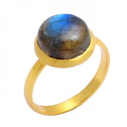Round Cabochon Labradorite Gemstone 925 Sterling Silver Gold Plated Ring Jewelry