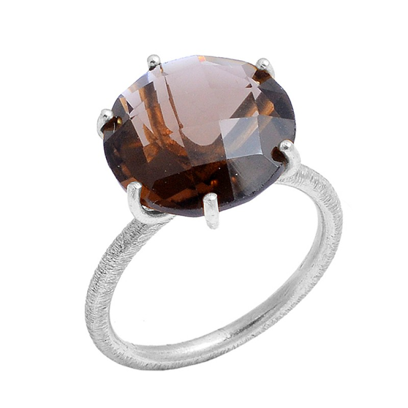 Smoky Quartz Round Shape Gemstone 925 Sterling Silver Gold Plated Prong Setting Ring