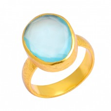 Aqua Chalcedony Oval Shape Gemstone 925 Sterling Silver Gold Plated Ring Jewelry