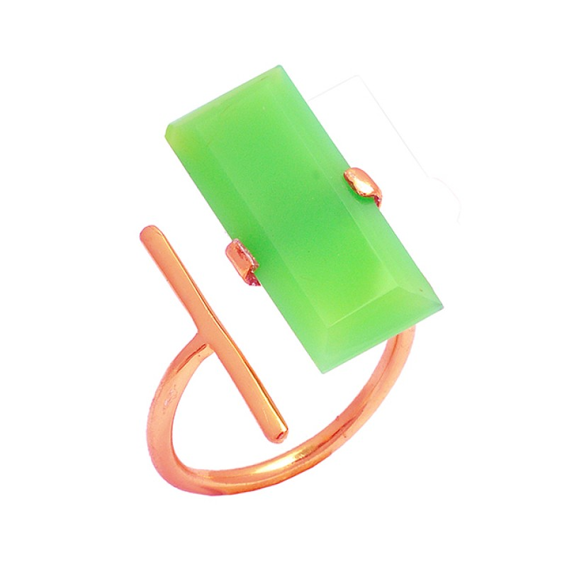 925 Sterling Silver Rectangle Shape Chalcedony Gemstone Gold Plated Ring