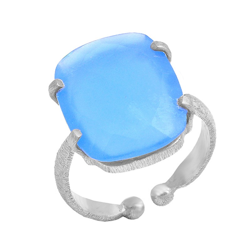 Rectangle Shape Blue Chalcedony Gemstone 925 Sterling Silver Gold Plated Ring