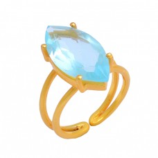Faceted Marquise Shape Blue Topaz Gemstone 925 Silver Gold Plated Ring