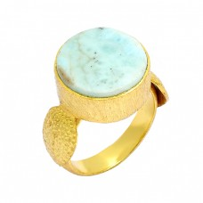 Larimar Round Shape Gemstone 925 Sterling Silver Gold Plated Designer Ring