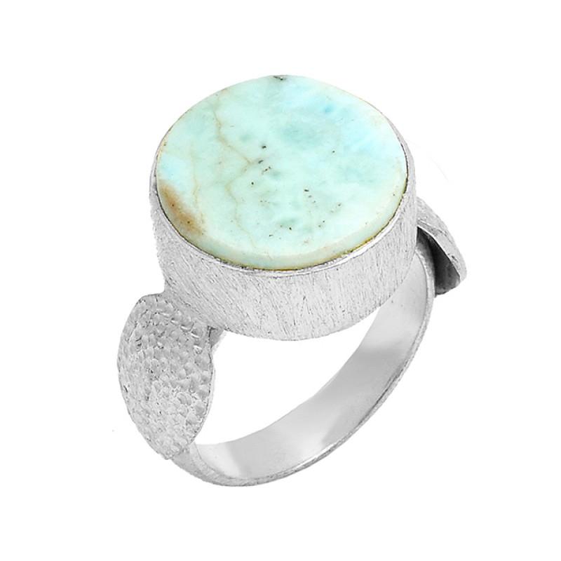 Larimar Round Shape Gemstone 925 Sterling Silver Gold Plated Designer Ring