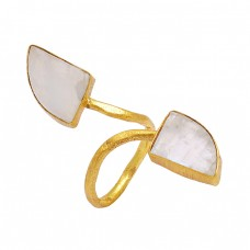 Golden Rutile Quartz Fancy Shape Gemstone 925 Silver Gold Plated Band Ring