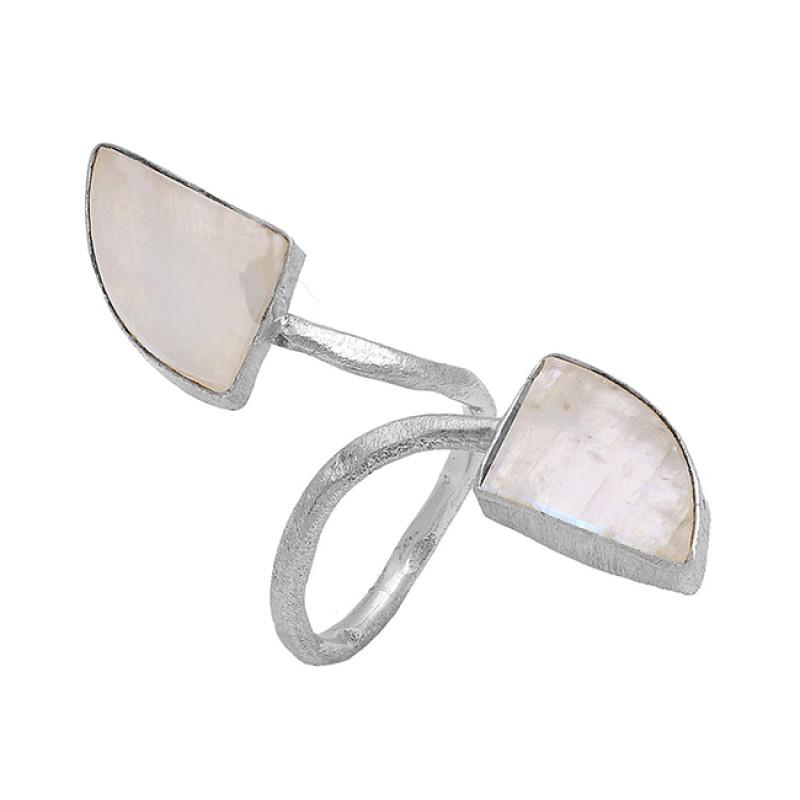 Golden Rutile Quartz Fancy Shape Gemstone 925 Silver Gold Plated Band Ring