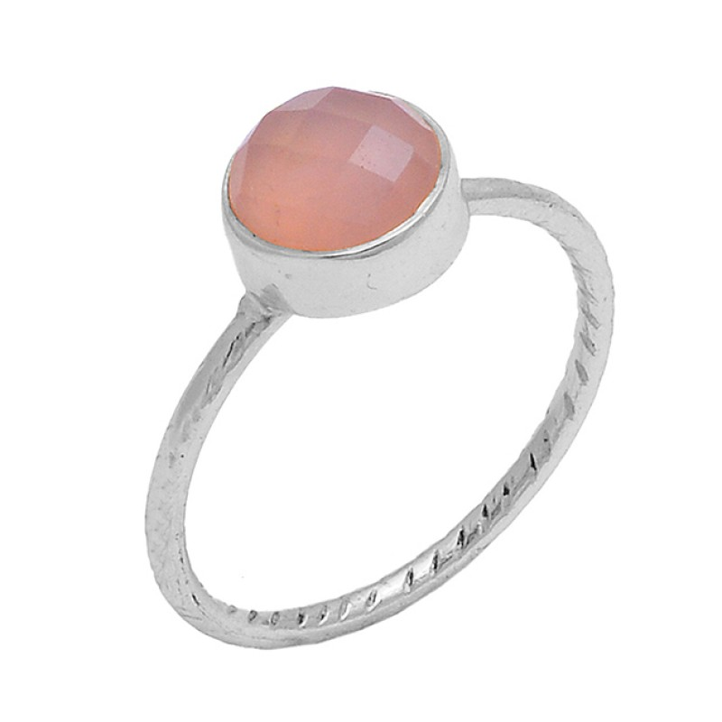 Round Shape Rose Chalcedony Gemstone 925 Sterling Silver Gold Plated Ring