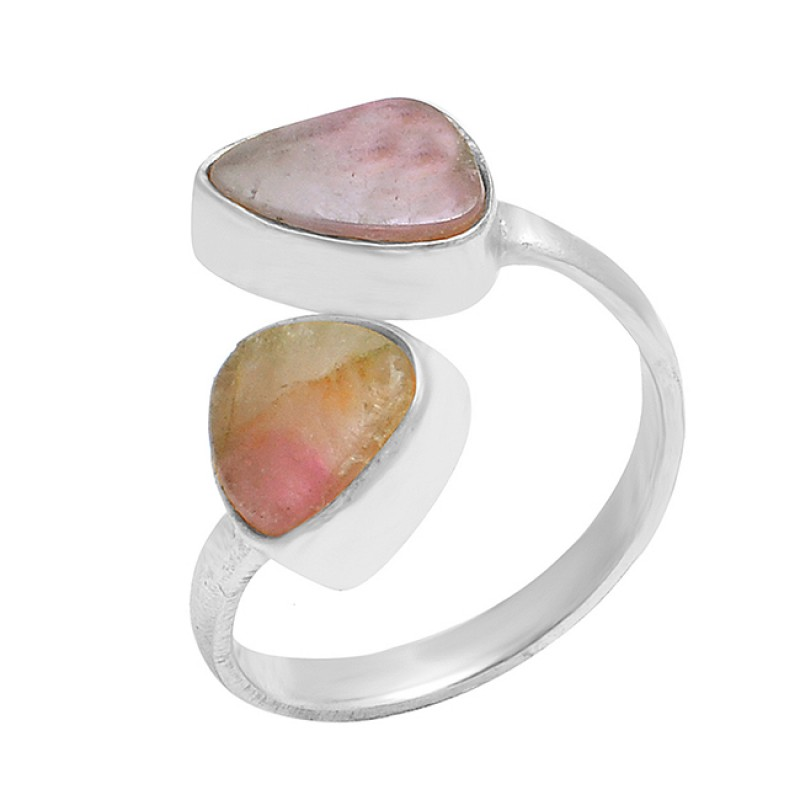 Pear Shape Multi Tourmaline Gemstone 925 Sterling Silver Gold Plated Ring Jewelry