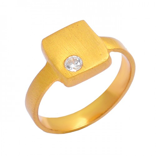 925 Sterling Silver Cubic Zirconia Gemstone Gold Plated Designer Ring Jewelry
