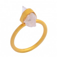 Rose Quartz Rough Gemstone 925 Sterling Silver Gold Plated Ring Jewelry