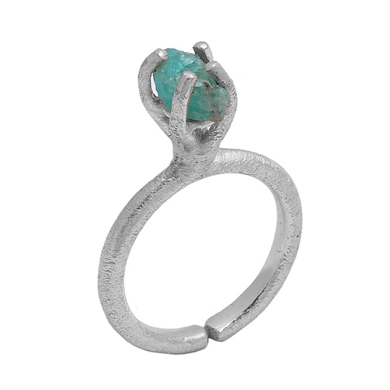 925 Sterling Silver Apatite Rough Gemstone Gold Plated Prong Setting Ring