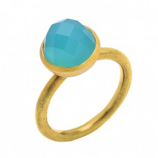 Stylish Handmade Designer Aqua Chalcedony Gemstone 925 Silver Gold Plated Ring