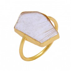 Fancy Shape Golden Rutile Quartz Gemstone 925 Sterling Silver Gold Plated Ring
