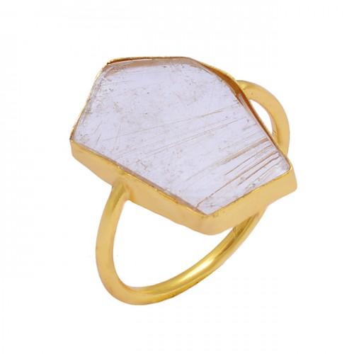 Fancy Shape Golden Rutile Quartz Gemstone 925 Sterling Silver Gold Plated Ring