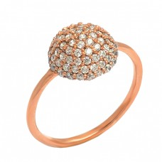 Pave Cubic Zirconia Gemstone 925 Sterling Silver Rose Gold Plated Ring Jewelry