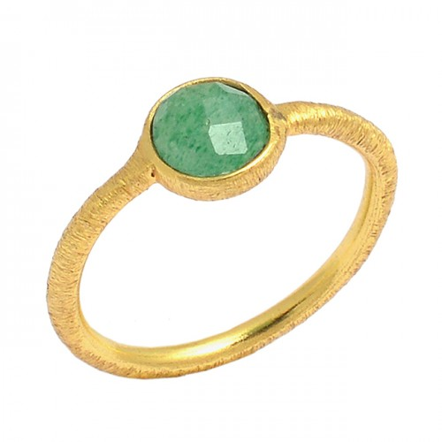 Round Shape Emerlad Gemstone 925 Sterling Silver Gold Plated Ring Jewelry