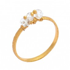 Round Shape Crystal Qyuartz Gemstone 925 Sterling Silver Gold Plated Ring Jewelry