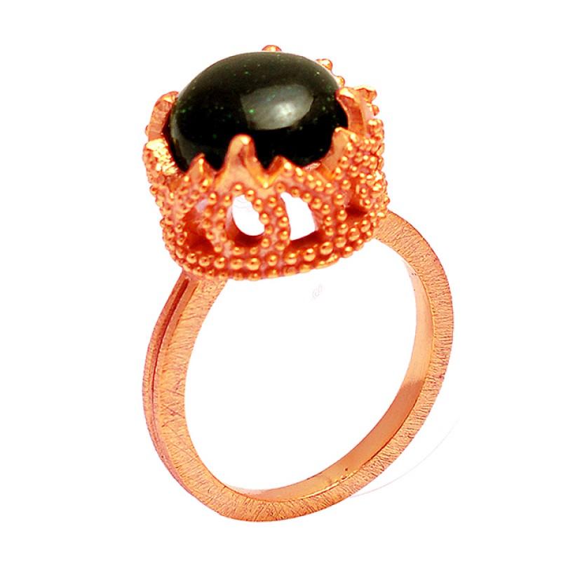 Round Cabochon Blue Sand Gemstone 925 Sterling Silver Gold Plated Designer Ring