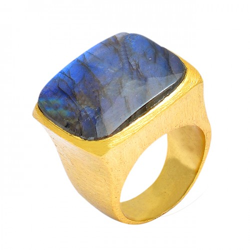 Cushion Shape Labradorite Gemstone 925 Sterling Silver Gold Plated Ring Jewelry