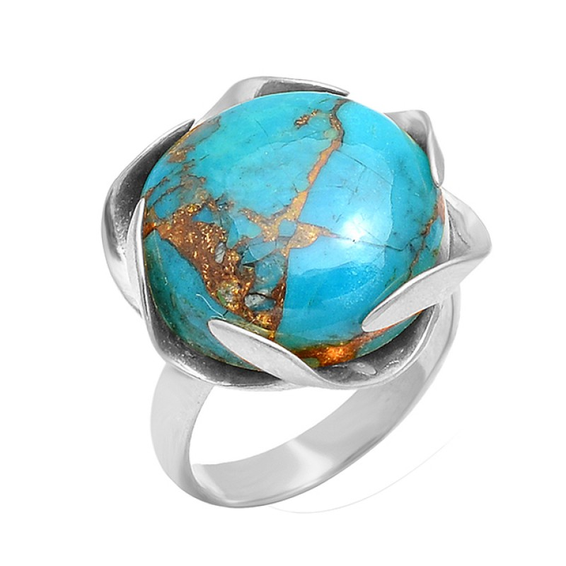 925 Silver Unique Handmade Designer Turquoise Round Gemstone Gold Plated Ring