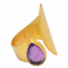 925 Sterling Silver Pear Shape Amethyt Gemstone Gold Plated Band Stylish Ring