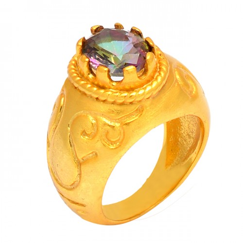 Round Shape Mystic Topaz Gemstone 925 Sterling Silver Gold Plated Ring
