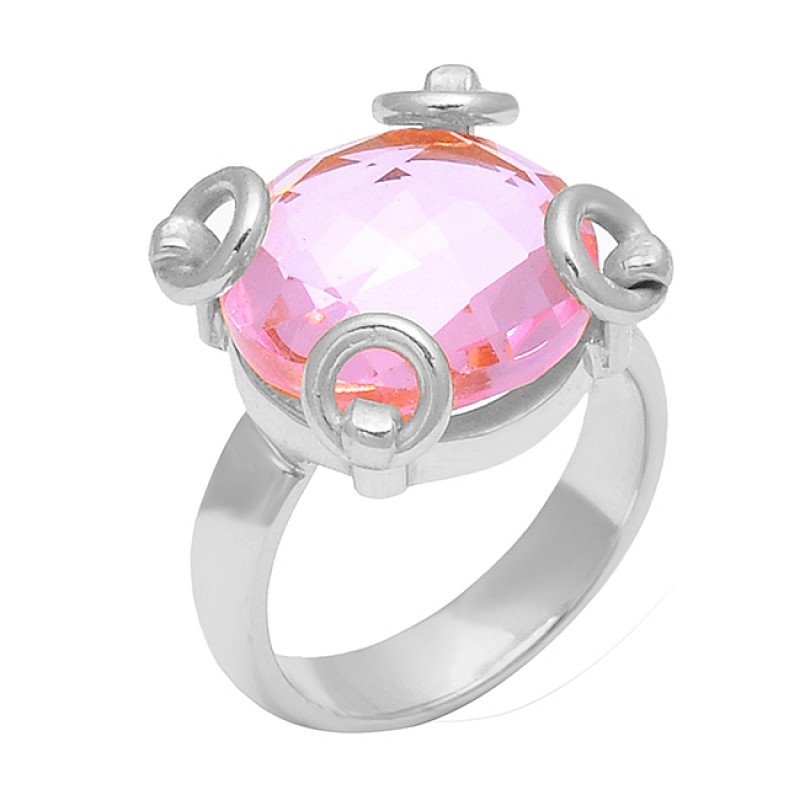 Round Shape Pink Quartz Gemstone 925 Sterling Silver Gold Plated Ring Jewelry
