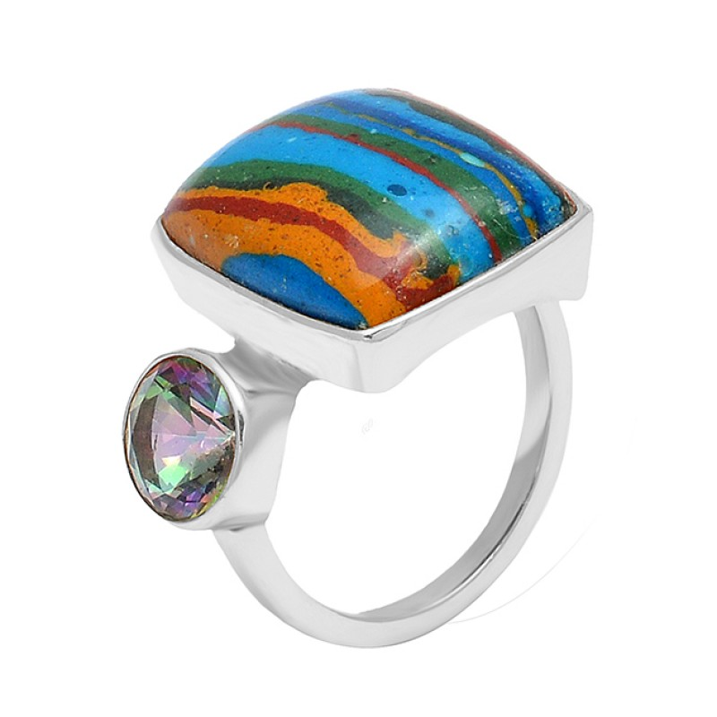 Rainbow Calcica Mystic Topaz Gemstone 925 Sterling Silver Gold Plated Ring
