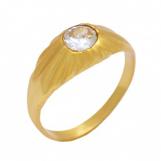 Round Shape Crystal Quartz Gemstone 925 Sterling Silver Gold Plated Ring