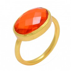 Oval Shape Fanta Quartz Gemstone 925 Sterling Silver Gold Plated Designer Ring