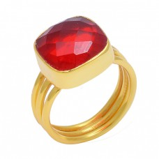Cushion Shape Red Onyx Gemstone 925 Sterling Silver Gold Plated Ring Jewelry