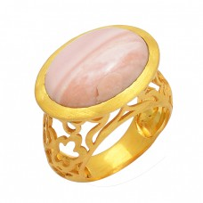Oval Shape Pink Opal Gemstone 925 Sterling Silver Gold Plated Ring Jewelry