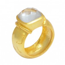 Cushion Shape Rainbow Moonstone 925 Sterling Silver Gold Plated Ring Jewelry