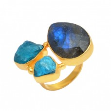 Labradorite Apatite Gemstone 925 Sterling Silver Gold Plated Ring Jewelry