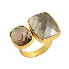 925 Sterling Silver Smoky Quartz Flint Gemstone Gold Plated Ring Jewelry