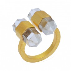 Pencil Shape Crystal Quartz Gemstone 925 Sterling Silver Gold Plated Ring Jewelry