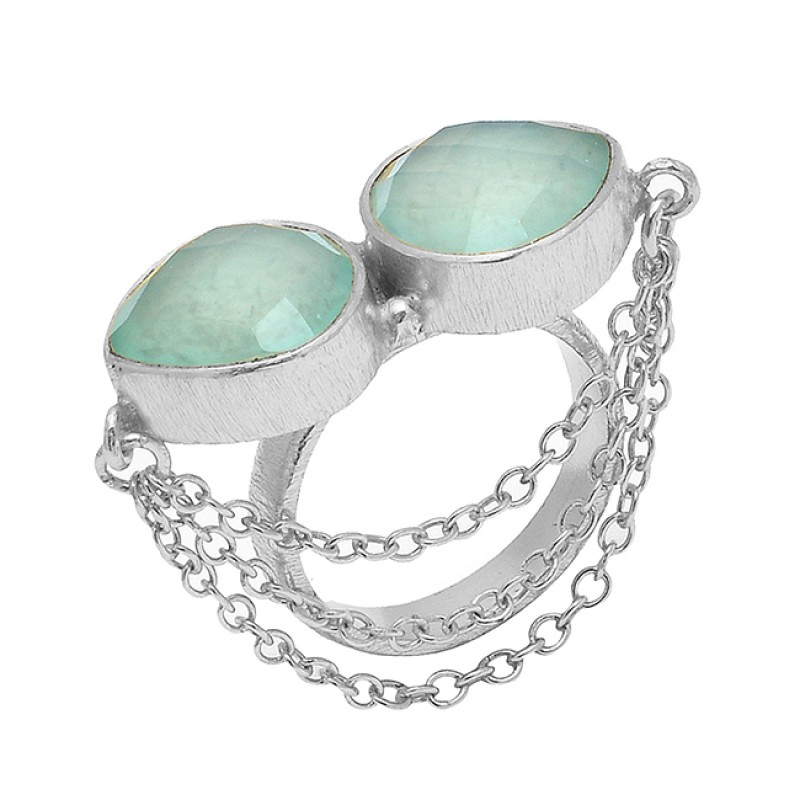 925 Sterling Silver Aqua Chalcedony Square Gemstone Chain Designer Gold Plated Ring