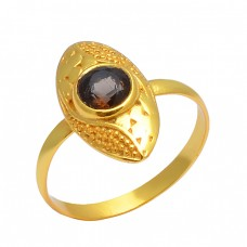 Round Shape Smoky Quartz Gemstone 925 Sterling Silver Gold Plated Ring Jewelry