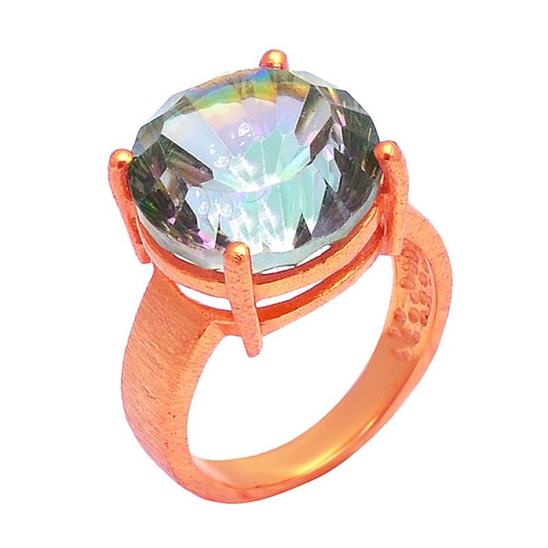 Mystic Topaz Round Shape Gemstone 925 Sterling Silver Gold Plated Ring Jewelry